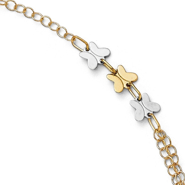 Italian 14k Two-Tone Gold Polished Butterfly Bracelet - 7.5 inches