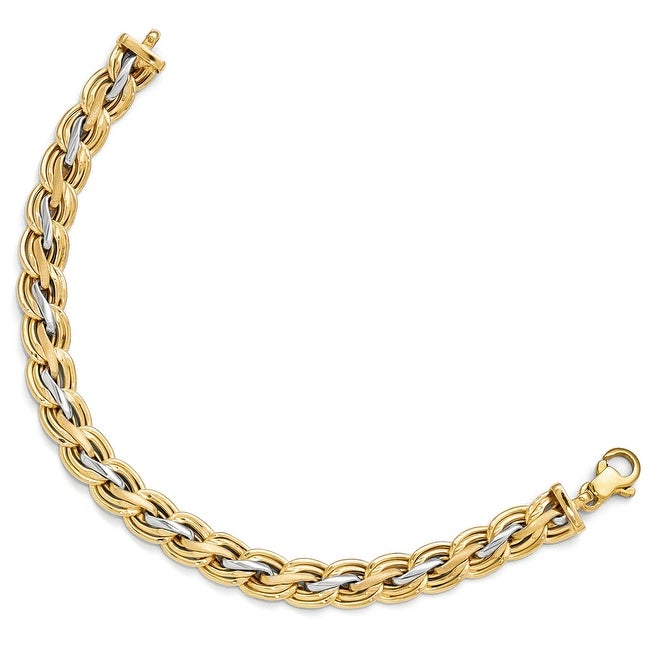 Italian 14k Gold with Rhodium-plated Polished and Satin Bracelet - 7.5 inches