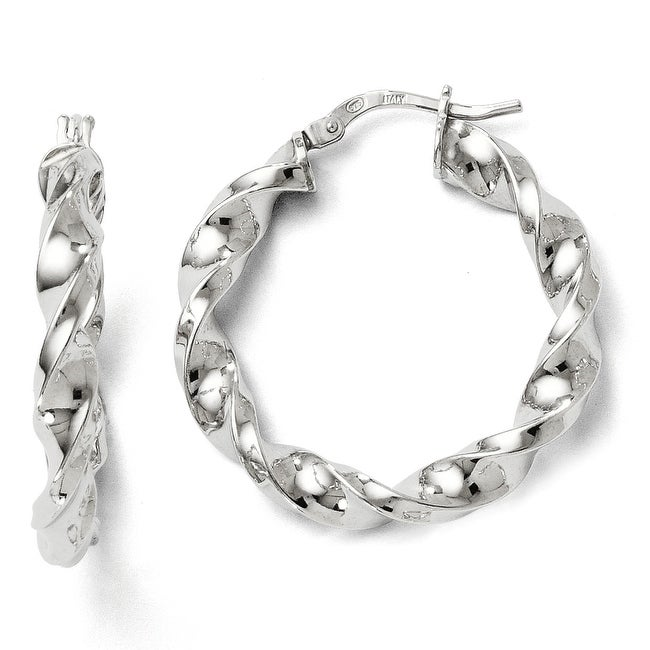 Italian Sterling Silver Polished Twisted Hinged Hoop Earrings