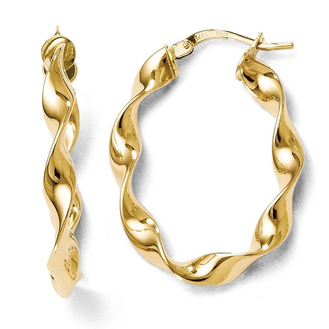 Italian 14k Gold Polished Twisted Oval Hoop Earrings
