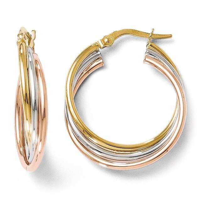 Italian 14k Tri Color Gold Polished And Textured Twisted Hoop Earrings