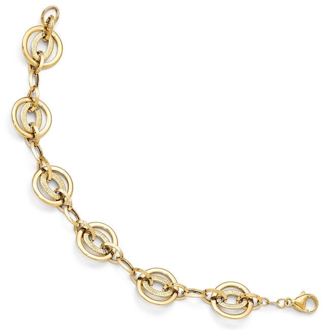 Italian 14k Gold Polished and Textured Fancy Link Bracelet - 7.5 inches