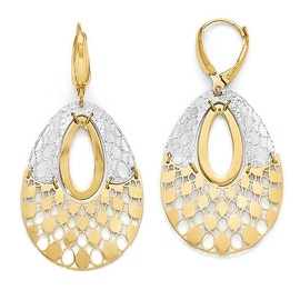 Italian 14k Two-Tone Gold Polished and Diamond Cut Leverback Earrings