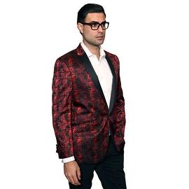 Men's manzini Red sport coat with black satin Peak Collar