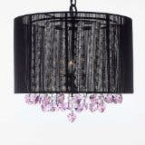 Crystal Chandelier Lighting With Large Black Shade & Pink Crystal*Hearts*
