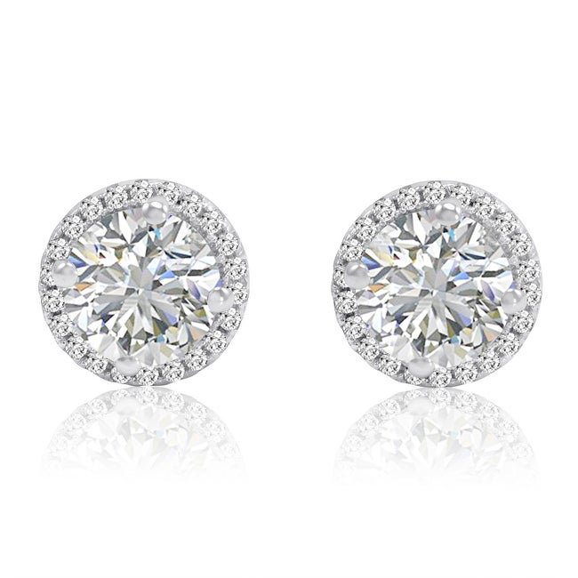 Amanda Rose Sterling Silver Round Halo Stud Earrings made with Swarovski Zirconia (3ct tw)