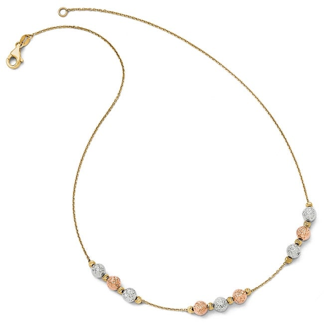 Italian 14k Gold Tri-Color Diamond Cut Beaded Necklace - 17 inches