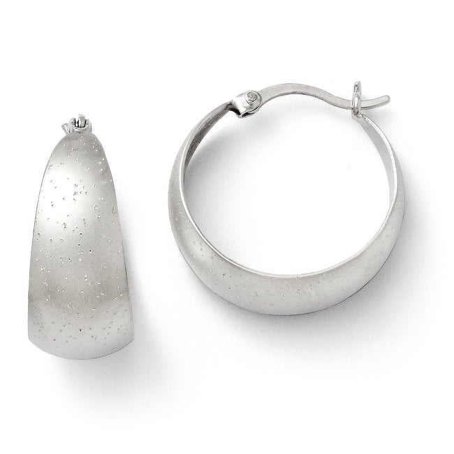Sterling Silver Rhodium-plated Radiant Essence Hoop Earrings