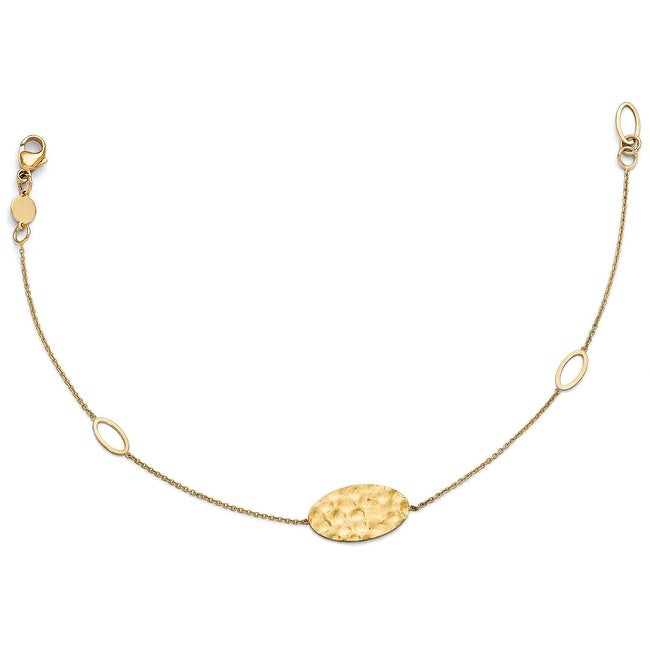 Italian 14k Gold Polished, Brushed and Textured Bracelet - 8 inches