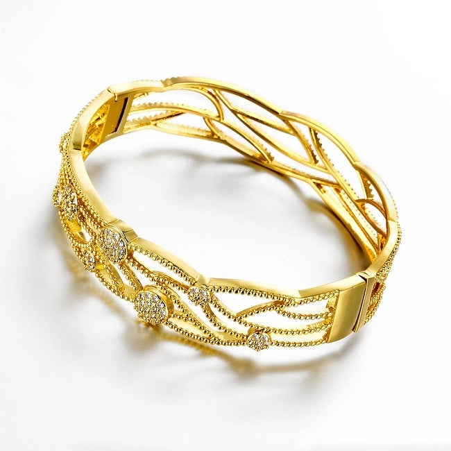 Vienna Jewelry Gold Plated Natural Nature Ingrained Bangle