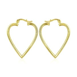 18K Gold Angular Heart Shaped Hoop Earrings