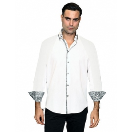 IN-65 Men's Manzini White with Pasiley Trim Design Cotton Shirt with Pasiley Trim