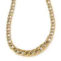 Italian 14k Gold Polsihed Fancy Link with 2in ext. Necklace - 18 inches