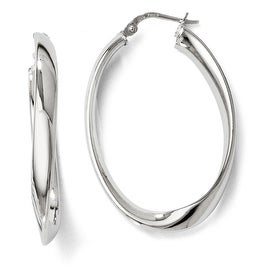 Italian Sterling Silver Polished Twisted Oval Hoop Earrings