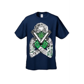 MEN'S T-SHIRT Crossed Guns 420 Marilyn WEED POT LEAF BANDANA TATTOOS S-3X 4X 5X