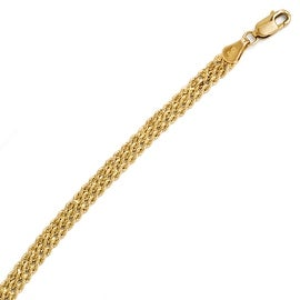 14k Gold 4.5mm Wide Diamond Cut Triple Rope Chain Bracelet