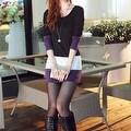 Autumn Winter Women Long Sleeve knit Bodycon Tops Slim Party Sweater Mini Dress - Thumbnail 8