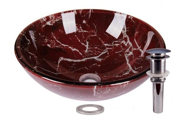 JANO Marble Burgundy Tempered Glass Bathroom Vessel Basin Sink