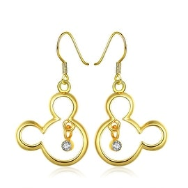 18K Gold Mouse Character Drop Down Earrings