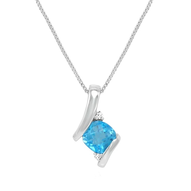 Amanda Rose Sterling Silver Swiss Blue Topaz and Diamond Pendant-Necklace (1ct tgw)