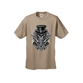 MEN'S BIKER T-SHIRT SKULL WITH TOP HAT CROSSED PISTOLS & ROSES S-XL 2X 3X 4X 5X - Thumbnail 5