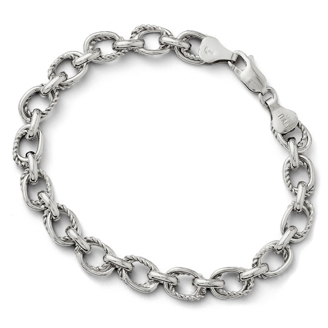 Italian Sterling Silver Polished and Textured Link Bracelet - 7.5 inches