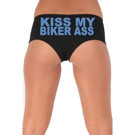 Women's Sexy Hot Booty Boy Shorts Kiss My Biker Ass Block Blue Bold Style Type Lingerie