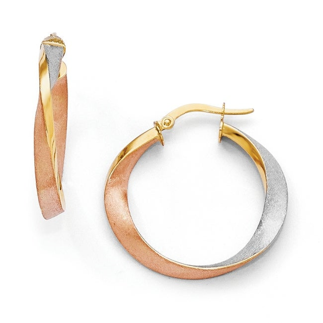 Italian 14k Gold with White and Rose Rhodium Satin Hoop Earrings