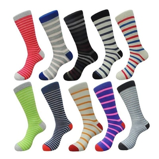 Colorful Cotton Men's Stripes Casual Dress Socks (10 PAIRs) Size 10 - 13