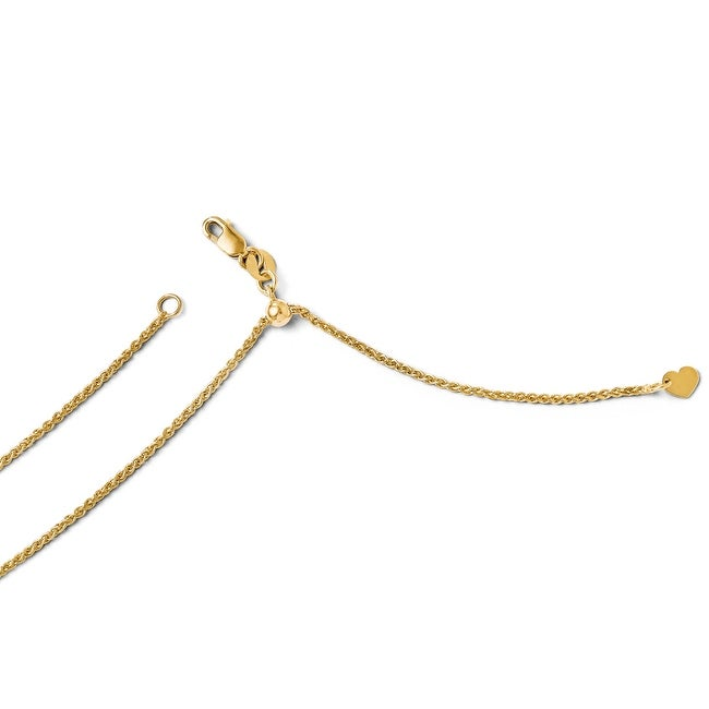 Italian 14k Gold Adjustable Wheat Chain