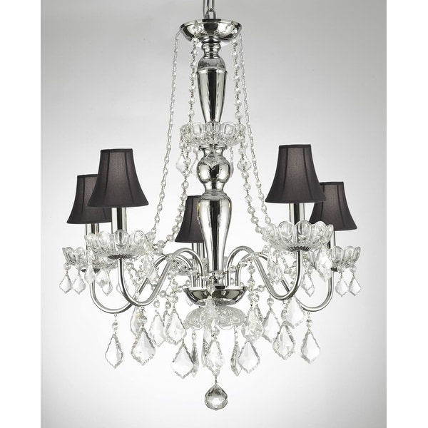 Elegant Crystal Chandelier With 5 Lights Pendant Lighting Fixture Light Lamp With Shades