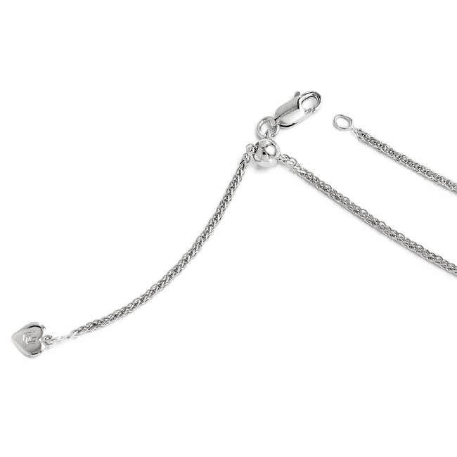 Italian Sterling Silver Diamond Cut Adjustable Wheat Chain - 22 inches
