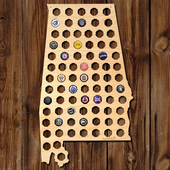 Alabama Beer Cap Map Wall Art