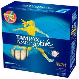 Tampax Pearl Active Plastic Unscented Tampons, Regular Absorbency 36 ea