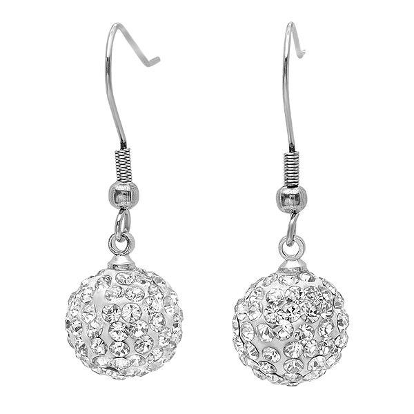Amanda Rose Ladies Pave Crystal Disco Ball Dangle Earrings (12mm)