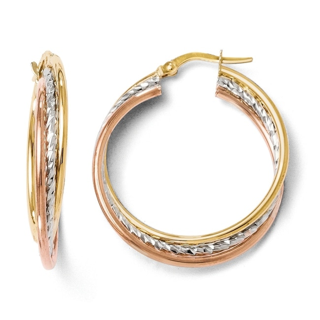Italian 14k Tri-Color Gold Polished and Textured Twisted Hinged Hoop Earrings