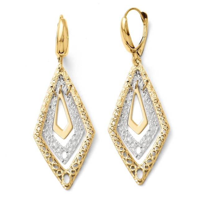 Italian 14k Two-Tone Gold Fancy Leverback Earrings