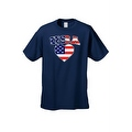 Unisex USA Flag T Shirt Patriotic Pride w/ Love Heart Red White & Blue American - Thumbnail 0