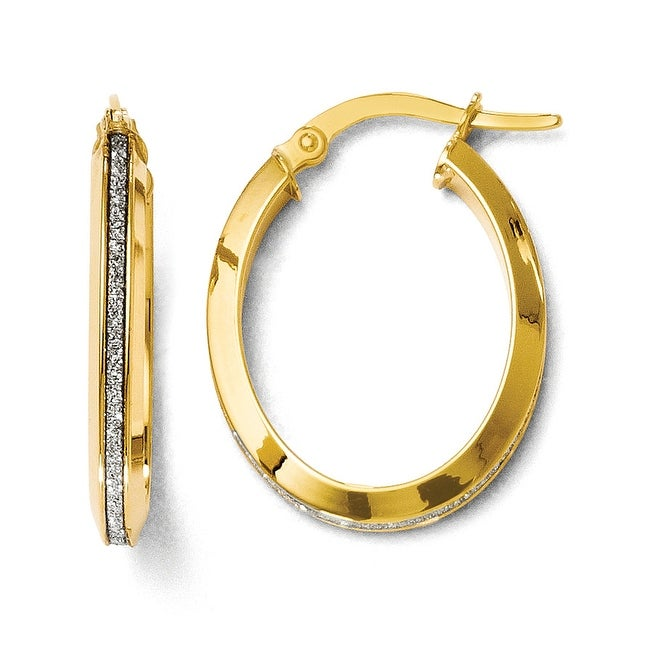 Italian 14k Gold Polished Glimmer Infused Oval Hoop Earrings