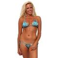 Women's 2-Piece Blue Beach Bikini True Timber Triangle Top & Tie Side Thong Swimwear Swimsuit - Thumbnail 0