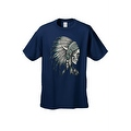 Men's T-Shirt Native Chief Skull Graphic Tee Indian American Feathers Bones - Thumbnail 4