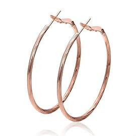 Vienna Jewelry 18K Rose Gold Thin Lay Hoop Earrings Made with Swarovksi Elements