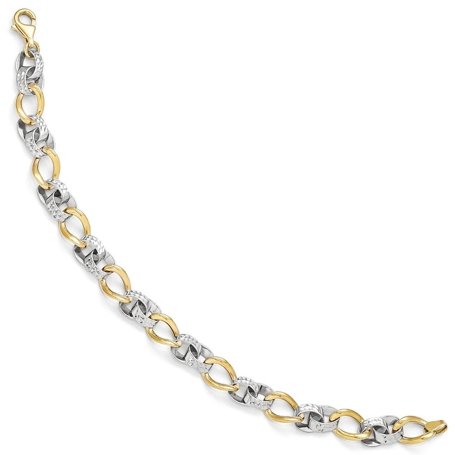 10k Two-Tone Gold Polished and Diamond-cut Link Bracelet - 7.5 inches
