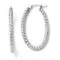 Italian Sterling Silver Polished &Textured Oval Hinged Hoop Earrings - Thumbnail 0
