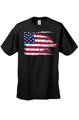 MEN'S AMERICAN FLAG T-SHIRT USA Ripped Distressed Flag STARS STRIPES HORIZONTAL