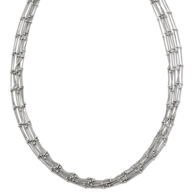 Italian Sterling Silver Seven Strand Beaded Necklace - 18 inches