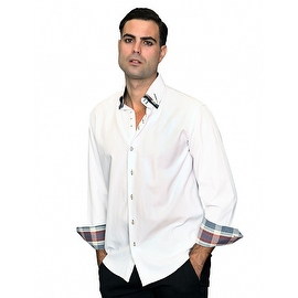IN-66 Men's Manzini Fancy 3 Collar White with Pasiley Trim Design Cotton Shirt with Pasiley Trim