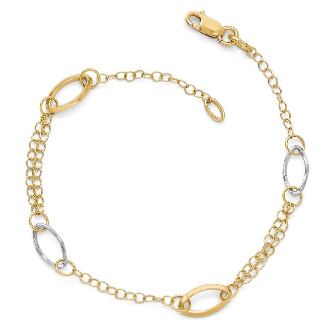 Italian 14k Two-Tone Gold Polished Link Bracelet - 7.5 inches
