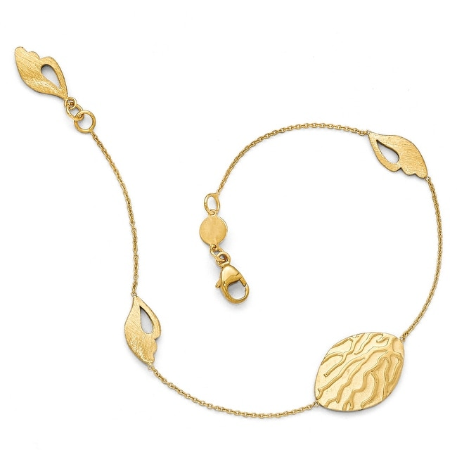 Italian 14k Gold Brushed and Textured Bracelet - 7.5 inches