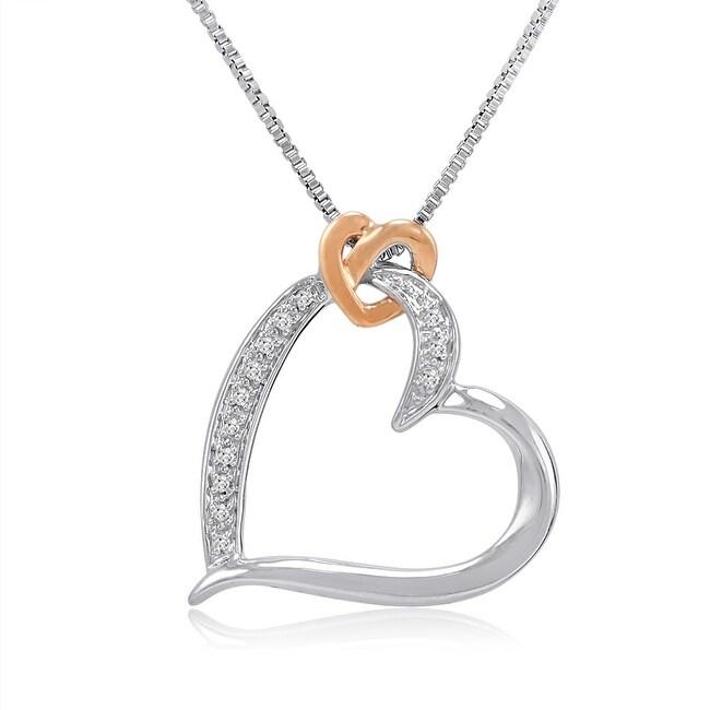 Amanda Rose Sterling Sivler and 14K Gold Diamond Heart Pendant